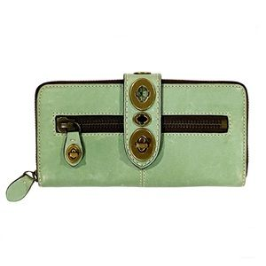 "Rare COACH Legacy ""LILY"" GREEN Turnlock Wallet"